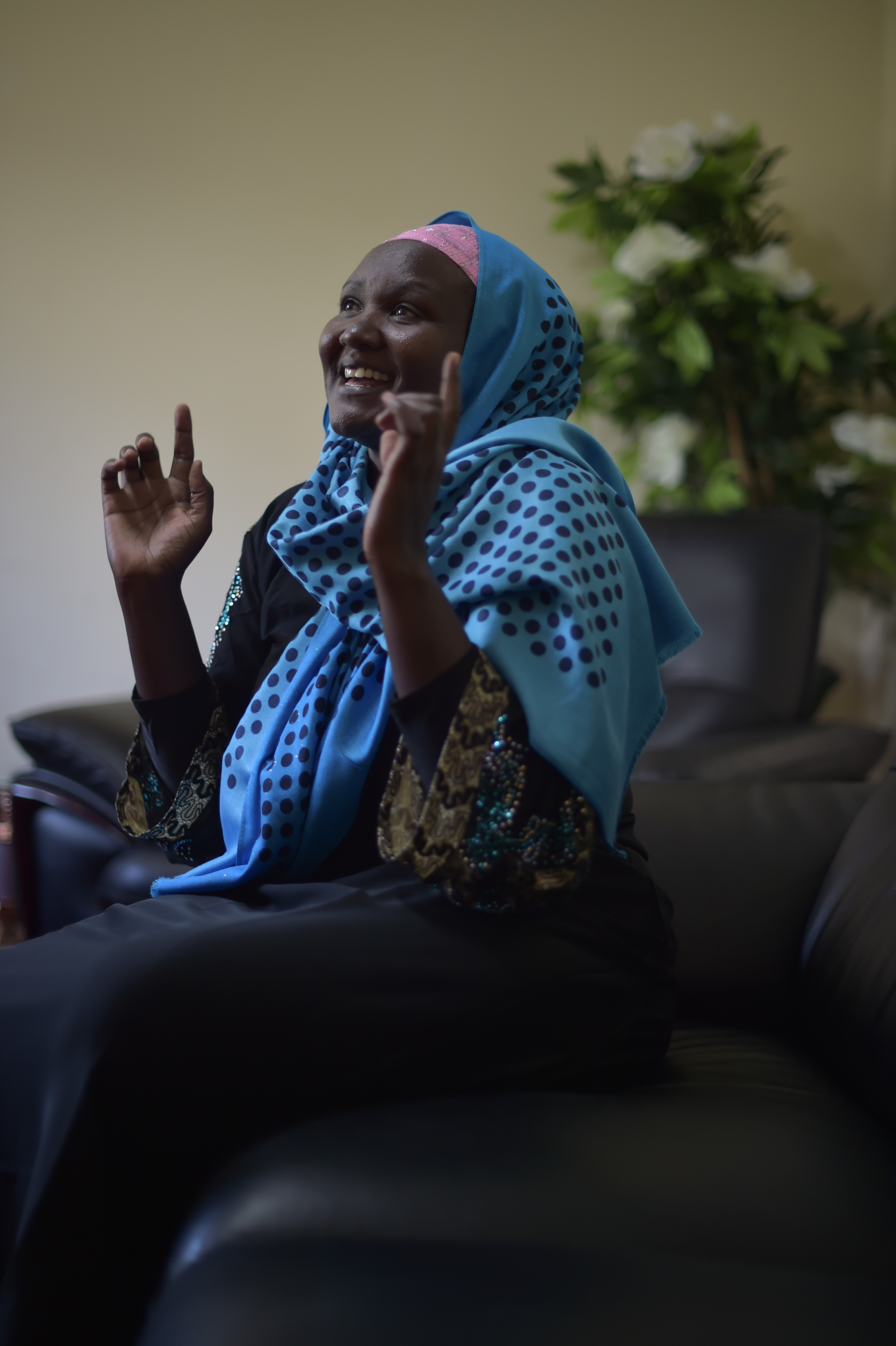 Loise Njoki, a Kenyan who was kept hostage by militants in Somalia for over two years, recounts parts of her ordeal at the Kenyan Embassy in Mogadishu, Somalia, on October 31, 2016. She will return to Kenya tomorrow where she will be reunited with her daughter and the rest of her family. AMISOM Photo / Tobin Jones